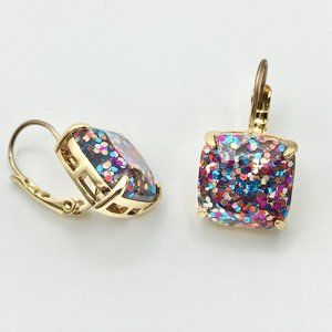 NEW! KATE SPADE Square Glitter Leverback Earrings